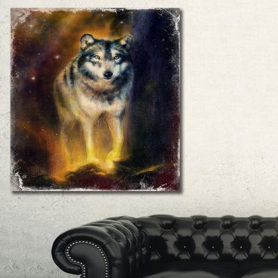 Designart Calm Wolf Illustration Animal Art On Canvas