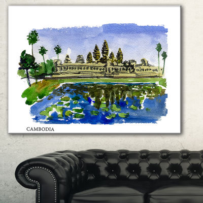 Designart Cambodia Vector Illustration CityscapePainting Canvas Print - 3 Panels
