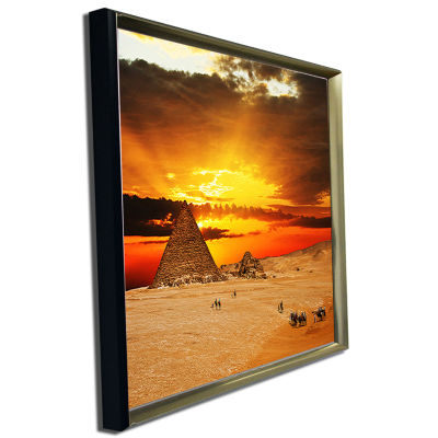 Designart Camel Caravan At Sunset Landscape Photography Canvas Print