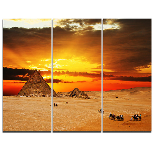 Designart Camel Caravan At Sunset Landscape Photography Canvas Print - 3 Panels