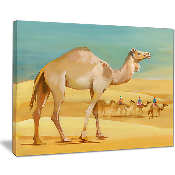 Designart Camel Walking In Desert Watercolor Animal Canvas Print