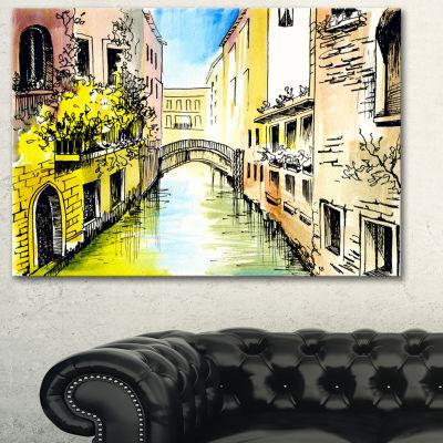 Designart Canal In Venice Cityscape Canvas Artwork