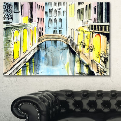 Designart Canal In Venice Large Cityscape CanvasArtwork