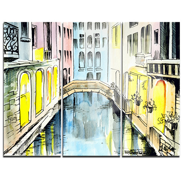 Designart Canal In Venice Large Cityscape CanvasArtwork - 3 Panels