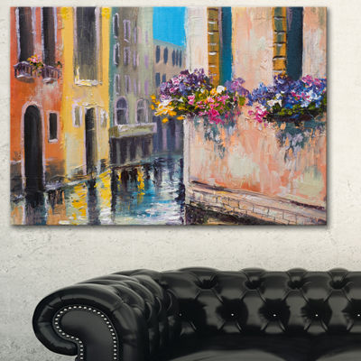 Designart Canal In Venice With Flowers Cityscape Canvas Art Print