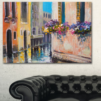 Designart Canal In Venice With Flowers CityscapeCanvas Art Print - 3 Panels