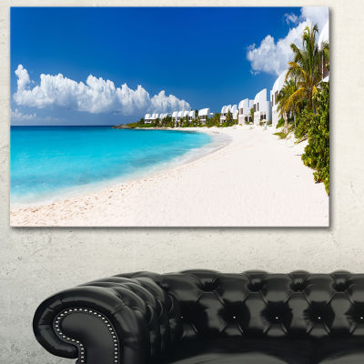 Designart Caribbean Beach Panorama Landscape PhotoCanvas Art Print - 3 Panels