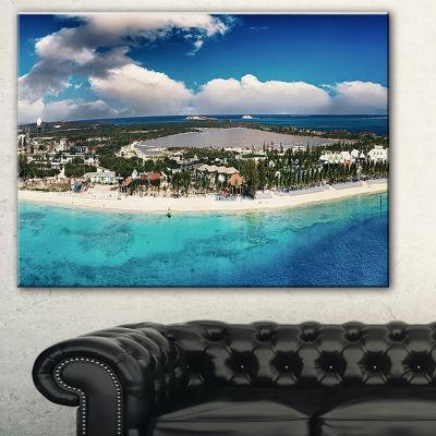 Designart Caribbean Coast Tropical Panorama Seascape Canvas Art Print - 3 Panels