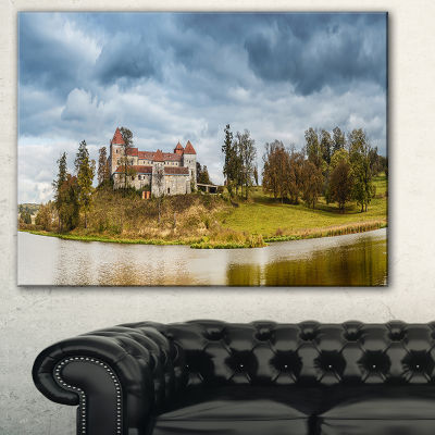 Designart Castle By The Lake Photography LandscapeCanvas Print