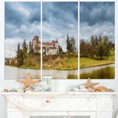 Designart Castle By The Lake Photography LandscapeCanvas Print - 3 Panels