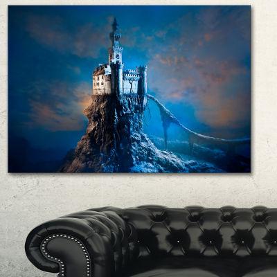 Designart Castle On The Hill Contemporary Canvas Art Print