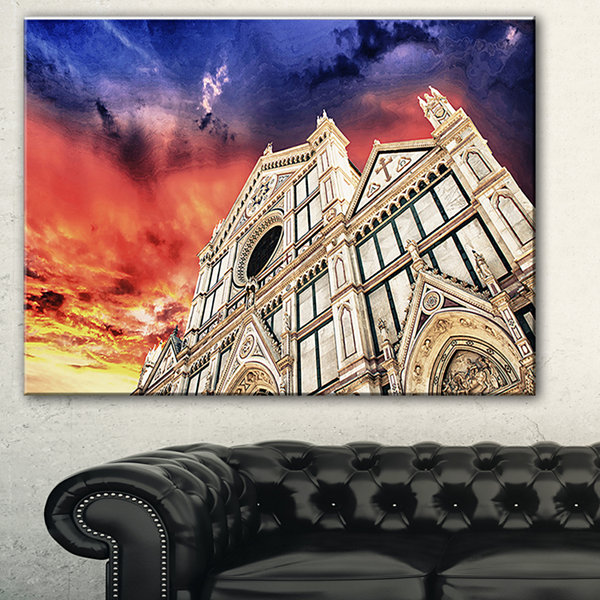 Designart Cathedral Of Santa Croce In Florence Cityscape Photo Canvas Print