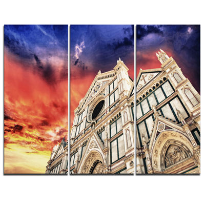 Designart Cathedral Of Santa Croce In Florence Cityscape Photo Canvas Print - 3 Panels