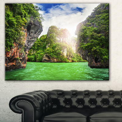 Designart Cave Rocks On Railay Beach Landscape ArtPrint Canvas - 3 Panels