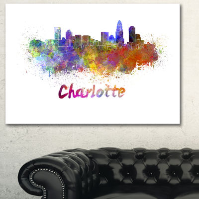 Designart Charlotte Skyline Cityscape Canvas Artwork Print