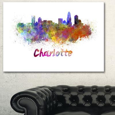 Designart Charlotte Skyline Cityscape Canvas Artwork Print - 3 Panels