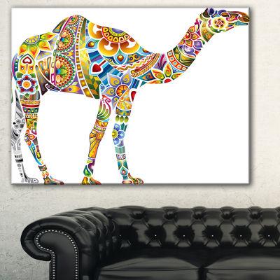 Designart Cheerful Floral Camel Abstract Print OnCanvas