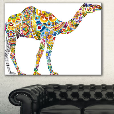 Designart Cheerful Floral Camel Abstract Print OnCanvas - 3 Panels
