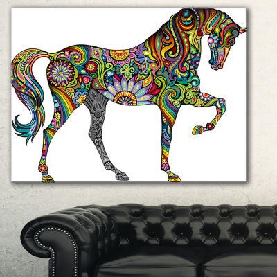 Designart Cheerful Horse Animal Canvas Art Print-3Panels