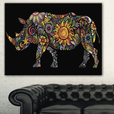 Designart Cheerful Rhinoceros Animal Canvas Art Print - 3 Panels