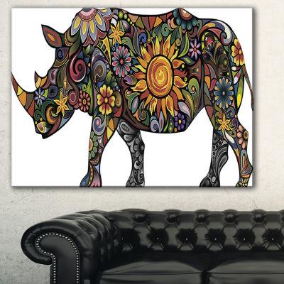 Designart Cheerful Rhinoceros On White Animal Canvas Art Print - 3 Panels