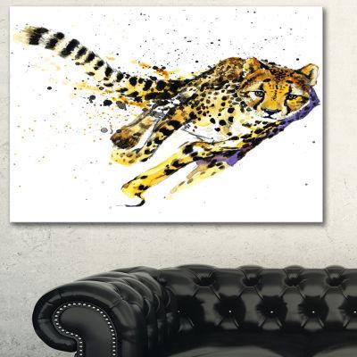 Designart Cheetah Illustration Artwork Animal Canvas Art Print - 3 Panels