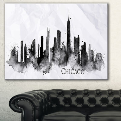 Designart Chicago Black Silhouette Cityscape Painting Canvas Print - 3 Panels