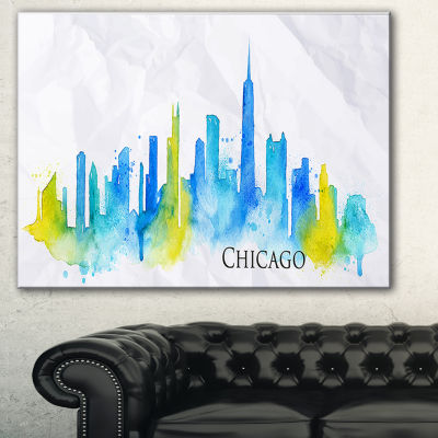 Designart Chicago Blue Green Silhouette CityscapeCanvas Print - 3 Panels