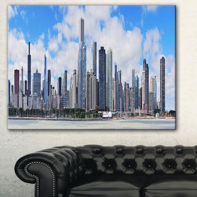 Designart Chicago City Urban Skyline Photography Canvas Art Print - 3 Panels