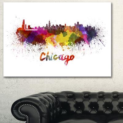 Designart Chicago Skyline Large Cityscape Canvas Art Print