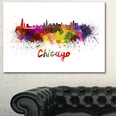 Designart Chicago Skyline Large Cityscape CanvasArt Print - 3 Panels