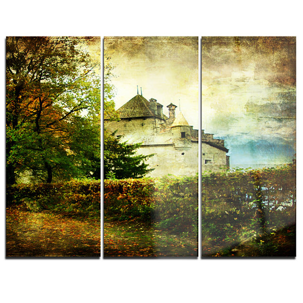 Designart Chillion Castle Landscape Art Print Canvas - 3 Panels
