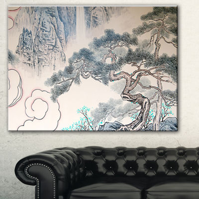 Designart Chinese Blue Tree Art Floral Painting Canvas