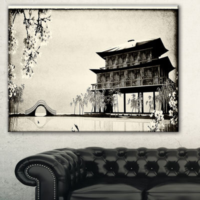Designart Chinese Ink Painting Chinese LandscapeCanvas Print - 3 Panels