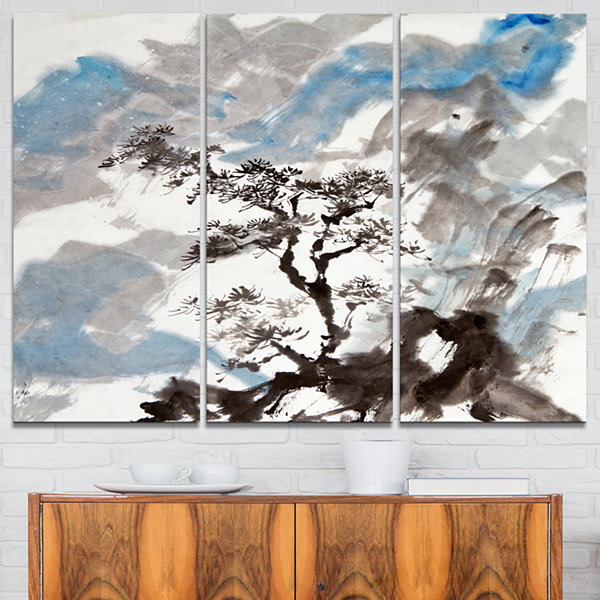 Designart Chinese Pine Tree Trees Canvas Art Print- 3 Panels