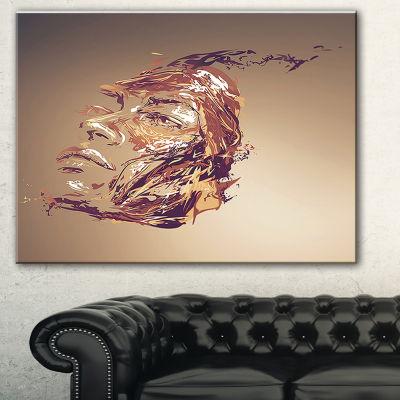 Designart Chocolate Portrait Of Woman Abstract Portrait Canvas Print - 3 Panels