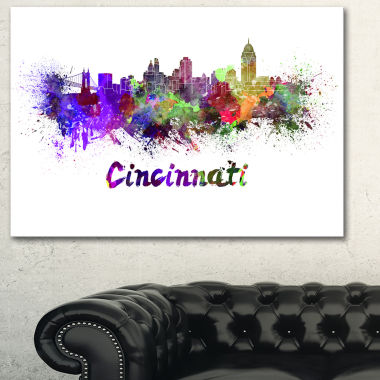 Designart Cincinnati Skyline Large Cityscape Canvas Artwork Print