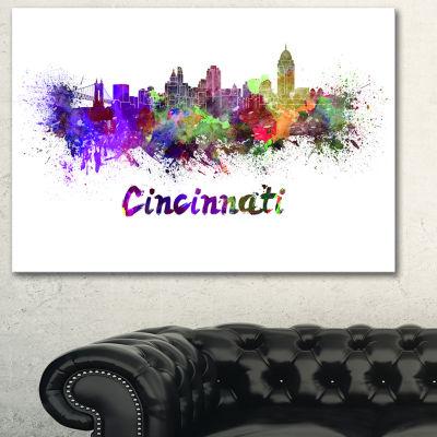 Designart Cincinnati Skyline Large Cityscape Canvas Artwork Print - 3 Panels