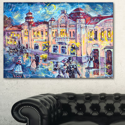 Designart City At Night With People Cityscape Canvas Print - 3 Panels