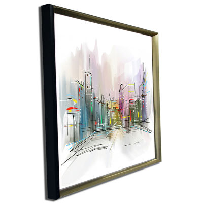 Designart City In A Distance Illustration Cityscape Canvas Print