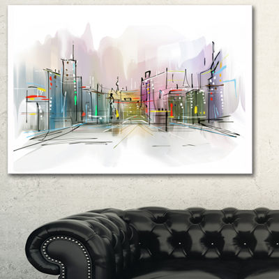 Designart City In A Distance Illustration Cityscape Canvas Print - 3 Panels