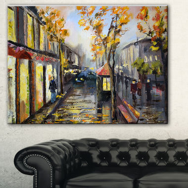 Designart City In Yellow Shade Modern Cityscape Canvas Art Print