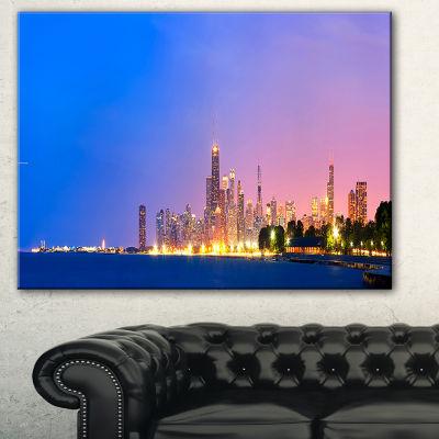 Designart City Of Chicago Skyline Cityscape PhotoCanvas Print - 3 Panels