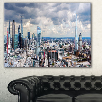 Designart City Of London Cityscape Photography Canvas Art Print - 3 Panels