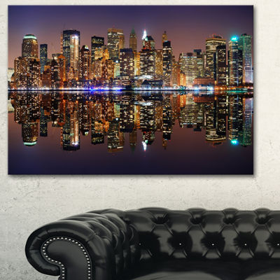 Designart City Of Manhattan Panorama Cityscape Photo Canvas Print - 3 Panels