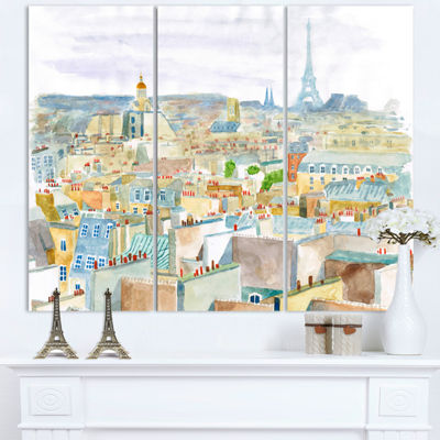 Designart City Of Paris Watercolor Cityscape Canvas Art Print - 3 Panels