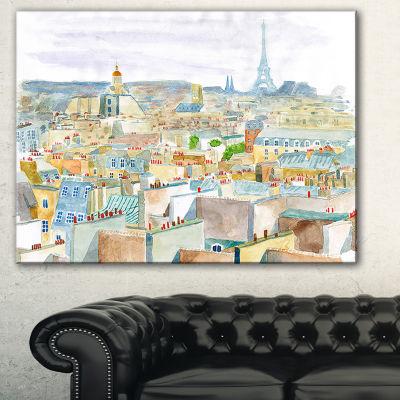 Designart City Of Paris Watercolor Cityscape Canvas Art Print - 3 Panels