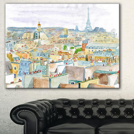 Designart City Of Paris Watercolor Cityscape Canvas Art Print 3 Panels