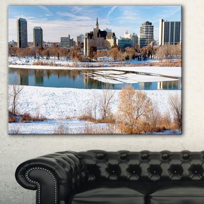 Designart City Of Saskatoon Winter Panoramic Landscape Art Print Canvas - 3 Panels