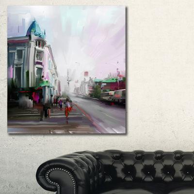 Designart City Street Cityscape Canvas Artwork Print